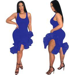 Saias de organza para mulheres on-line-Sexy Verão Mulheres Vestido Sem Mangas Irregular Organza Flouncy Tanque Vestidos Apertados Saia Mid-bezerro Comprimento Partido Club Vest Saia Roupas C425