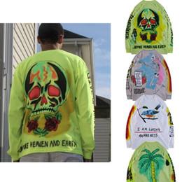 camisa de esqueleto da luva longa Desconto Kanye West Pullover Moda 4 Estilos Esqueleto Impresso T Shirt Dos Homens de Manga Longa Fina Moletons Eu Sou Amar Consciência Crewneck Hip Hop Tops