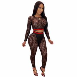 2019 senhoras treinos sexy Novo Impresso 2 Peça Set Mulheres Duas Peças Outfits Manga Longa Topos de Culturas Bodycon Calças Skinny Senhoras Terno Sexy Clubwear Fatos desconto senhoras treinos sexy