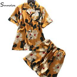 Pijamas cortos de dos piezas de seda online-Pijamas de seda de manga corta de verano Smmoloa con dos piezas de ropa de dormir para mujeres Ropa de dormir sexy para mujeres