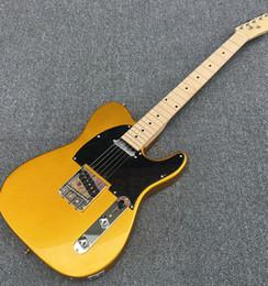 électrique réel Promotion Guitare électrique Galilee gold TL, assurance qualité, Black Guard, touche en érable incrusté de perles, vraie photo