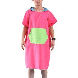 Roupão seco rápido on-line-Hot Mulheres Homem Praia Mudando Robe Toalha De Banho De Secagem Rápida-Esporte Ao Ar Livre Adulto Com Capuz Casaco Poncho Toalhas De Banho