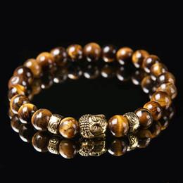 8 мм Натуральный Камень Из Бисера Мода Новый Желтый Тигровый Глаз Рука Бисера Голова Будды мужская Энергия Браслет от