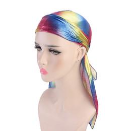 Männer hip hop turban online-Laser Pirate Hats Imitation Silk Long Tail Caps Headwear Fashion Men's women Satin Bandana Turban Wigs Hip hop Cape Hat GGA2939-2