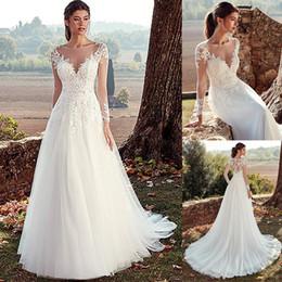2019 пакистанские платья длиной до пола Тюль A-Line Свадебные платья с кружевными аппликациями на спине с длинными рукавами Свадебные платья 2020 vestido de noche