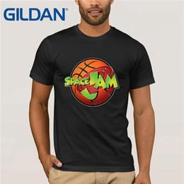 Wholesale Espaço Jam Looney Tunes Bugs Dos Desenhos Animados Basketballer Bola Laranja Homens Tshirt AM27 Camisas Dos Homens de Manga Curta Tendência Roupas