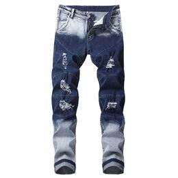 2019 jeans di colore maschile KIMSERE Jeans strappati strappati jeans stretch denim con fori per uomo lavato blu colore graduale Plus Size 28-42 jeans di colore maschile economici