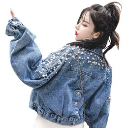 1657e260607 2019 Long Sleeve Women Jacket Coat Pearl Beading Women Denim Coat Turn Down  Collar Cropped Top Chaqueta Mujer Casaco inexpensive pearl denim jacket