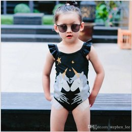 2019 traje de baño coreano azul Trajes de baño para bebés al por menor Trajes de baño de unicornio negro Traje de baño de una pieza Bikini Bikini Ropa de playa Body con volantes