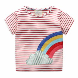 f564d783df Kid Baby Girls Clothes Short Sleeve Rainbow T Shirts Tops Summer 2019 New  Cotton Red Striped T-shirt Tee Children Boys Clothing