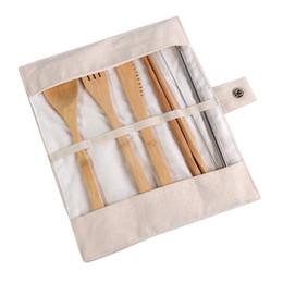 Talheres de bebê on-line-7 pçs / set conjunto de talheres portátil de viagem ao ar livre de bambu talheres conjunto faca Chopsticks colher garfo alimentação do bebê conjuntos de louça CCA11849 120 conjunto