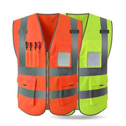 2019 roupa de construção reflexiva Engenharia de Construção Ao Ar Livre dos homens MJARTORIA Colete de Segurança de Alta Visibilidade Tiras Reflexivas Zíper Frente Segurança Vestuário roupa de construção reflexiva barato