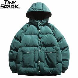 2019 Street Hip Hop Reversible Jacket Parka Men Padded Jacket Windjacke Harajuku Puffer Coat Warm mit Kapuze Outwear lose New