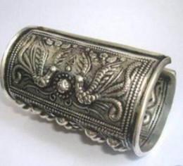 brazaletes asiáticos de plata Rebajas Jewelryr Jade Bracelet Asian China Handcrafted Superb Jewelry flor tallada tibetana miao silver dragons Phoenix pulsera Bangl Envío gratis
