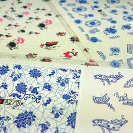 Nail art designs bleu blanc en Ligne-3pcs Nail Art eau transfert autocollant autocollant décalques * 36 Style porcelaine de porcelaine bleu et blanc Chine encre de Chine Designs Décoration Wraps Conseils