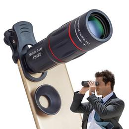Lente de telescopio con zoom de 18x online-Con Clip 18X Zoom Teléfono móvil Telescopio Lente APL-T18 Teléfono externo Lente de la cámara del teléfono inteligente para iPhone X Samsung Galaxy S9 S8 Nota 8