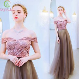 2019 piso de cafe SSYfashion Boat Neck Off The Shoulder Lace Up Back Floor Length Lequins Coffee Evening Dress Party Banquet Gown Robe De Soiree piso de cafe baratos
