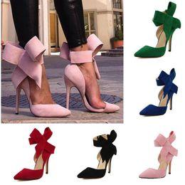 Saltos mais finos on-line-2019 Sapatos de Salto Alto Sapatos Da Moda Com Dedos Apontados Borboleta Grande Salto Fino Salto Alto Mulheres Vestido Sapatos