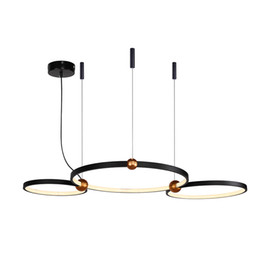 Argentina Luces colgantes posmodernas anillo de la sala dúplex diseñador LED lámpara colgante luces colgantes modernas de color negro / blanco para la vida cheap designer pendant light lamp white Suministro
