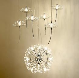 Lámpara de diente de león online-Europe Crystal Chandelier Dandelion Clothing Shop Restaurant Livingroom G4 Iluminación LED Escaleras Droplight American Flower Lamp