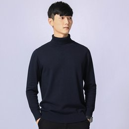 Suéter azul de cuello alto para hombre online-Prendas de punto de punto masculino casual para hombre suéter azul de manga larga gruesos calientes de gran tamaño de cuello alto suéter de cuello alto suéter de los hombres 3XL