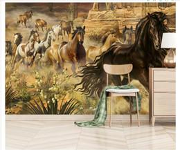 Pintura a óleo cavalo animal on-line-Papel de parede personalizado 3d murais de fotos papel de parede desenhado à Mão cavalo grupo animal moderno pintura a óleo quarto TV sofá fundo parede