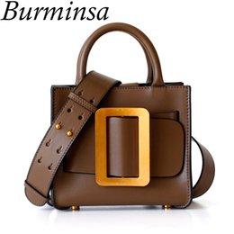 eb91e1381815 Discount mk handbags - Burminsa Mini Genuine Leather Women Handbags Luxury  Wide Strap Shoulder Bags Designer