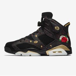new style 9dd46 e6bc2 Nike Air Jordan 6 2018 CHAUSSURES DE BASKETBALL 6 CNY POUR HOMME NOUVEL AN  CHINOIS BRODERIE FLORALE MÉTAL GOLD-MULTI NOIR GRAND GARCONNETS chaussures  pour ...