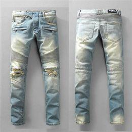 Hip-jeans-marken online-Balma neueste Auflistung Röhrenjeans für Männer zerrissene Löcher Jeans Motorrad Biker Denim Hosen Männer Marke Modedesigner Hip Hop Herren Jeans