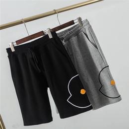 Homens calças curtas de couro on-line-19ss mck paris mengkou bordado etiqueta de couro calças de cintura elástica faixa calças das mulheres dos homens casuais esporte basculador sweatpants shorts ao ar livre
