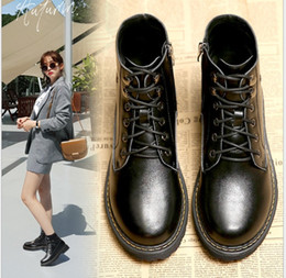 d4251cc430014 Autumn Spring New Sueded Leather Warm Zipper Casual Ankle Shoes Ladies  Middle Heel Sewing Round Toe Metal Bottom Lace-Up Women Martin Boots
