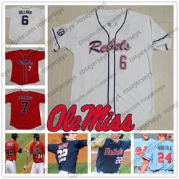 maillots 14 15 Promotion NCAA Ole Miss Rebels # 6 Thomas Dillard 10 Tyler Keenan 14 Cole Zabowski 15 Grae Kessinger Blanc Rouge Bleu marine Jersey 2019