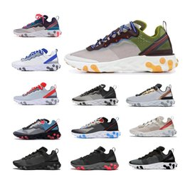 NOUVEAU 2019 Epic React Element 87 chaussures de course pour hommes femmes blanches noires NEPTUNE GREEN hommes bleu concepteur formateur baskets de