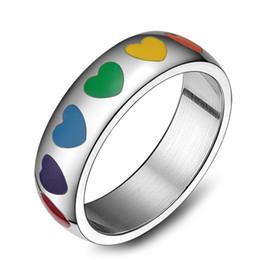 2019 dual-chip-handys Mode-Regenbogen-Liebes-Herz-Ring für Paar-Hochzeits-Schmuck-nettes Herz formte Ring