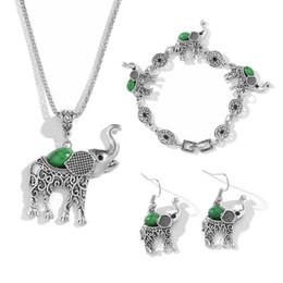2019 venta al por mayor de joyería de tanzanita Elefante colgante de plata creativo COLLAR PENDIENTE En forma de colgante collar pulsera pendientes joyería regalo especial envío gratis