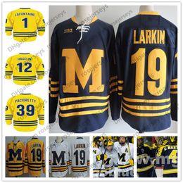 Camiseta de hockey azul naranja online-NCAA Michigan Wolverines # 1 Pat LaFontaine 12 Carl Hagelin Azul 19 39 Larkin Armada Max amarillo blanco Jersey del hockey de la vendimia