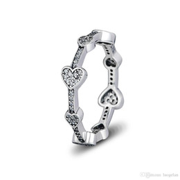 bda2fbb51 Discount pandora rings - Compatible with Pandora jewelry ring silver  Alluring Hearts rings With CZ 100