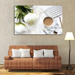 tea wall decor Coupons - Milk Tea Keyboard White Happy Office Life Modern Poster Unframed Painting Canvas Art Wall Decor Horizontal Rectangle Picture