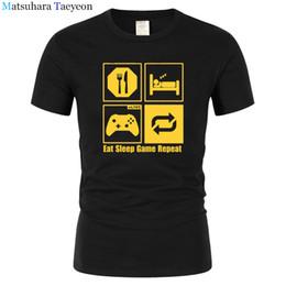 Mangia maglietta online-tshirt Divertente New Fashion Eat Sleep Ripetizione del gioco Mens Gamer Divertente T Shirt Custom Pattern cotone uomo T-shirt casual T195