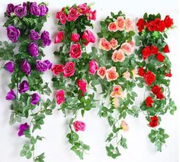 coronas de vid al por mayor Rebajas Ventas calientes Flores Artificiales 2.45 M de Seda Larga Flor de Rosa Ivy Vine Hoja Garland Wedding Party Decoración Del Hogar Guirnalda Favores de la boda