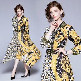2020 diseño hermoso vestido de las mujeres Diseño de lujo Vestido estampado barroco vintage Runway Vestido de primavera y otoño con cuello en V para mujer Hermosa oficina Lady Business Slim Party Vestidos de baile diseño hermoso vestido de las mujeres baratos