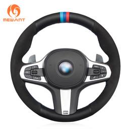conjunto de cables Rebajas MEWANT cubierta de volante de coche de gamuza de cuero genuino negro para M Sport G30 G31 G32 G20 G21 G14 G15 G16 X3 G01 X4 G02 X5 G05