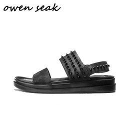 женская обувь Скидка Owen Seak Men Gladiator Sandals Black Rome Rivet Sandals Genuine Leather Slippers Slides Adult Summer Men Shoes