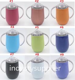 Кружка чая с двойными стенками онлайн-12 унций кружки из нержавеющей стали двойные ручки чашки бокал двойные стенки с вакуумной изоляцией бутылки с крышками, пить кофе чай молоко
