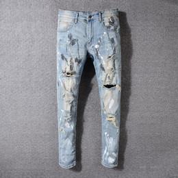 Männer bemalten hosen online-Luxus Jeans Herrenmode Distressed Herren Reißverschluss Motorrad Hosen Loch Lack Punk Jeans Beste Qualität Jeans Für Männer