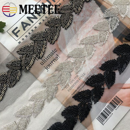pearl trim wholesale Coupons - meetee Pearl Beaded Lace Trims Leaf Mesh Fabric Lace Ribbon Tape Weding Dress Collar Headdress Lace Applique DIY Crafts