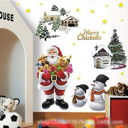 Ornamenti d'arte a parete online-Xmas Ornament Finestra rimovibile Babbo Natale Wall Sticker Art murale del vinile della decalcomania fai da te Home Decor