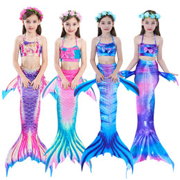 Costumi sirena bambino online-2019 Nuovi Bambini Mermaid Code Swimwear 4-12Y Bambini Costumi Ragazze Nuoto Bambino Bikini Costume Da Bagno Mermaid Costume Da Bagno 3 Pz / set abbigliamento