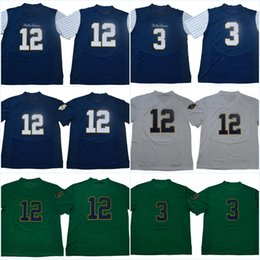12 Ian Book Blue White Green Notre Dame Fighting Irish  3 Montana College Jerseys  2018 New Style Stitched Jerseys Mix Order Free Shipping notre dame jersey  ... e823bdeab
