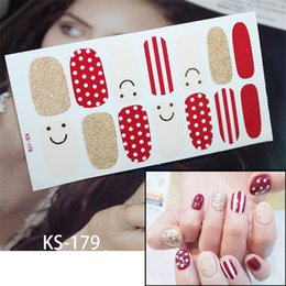 consejos de maquillaje de las mujeres Rebajas 1 hoja Smile Stripes Red Sticker Decoraciones Full Wraps Adhesive Decal Beauty Nail Art Stickers Manicure Tips for Women Makeup